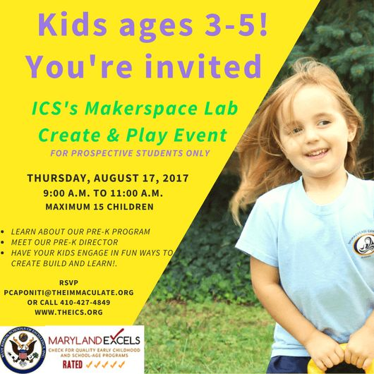 Makerspace Lab Play and Learn Event for prospective students ages 3-5