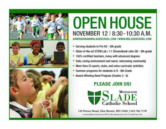 Monsignor Slade Catholic School Open House