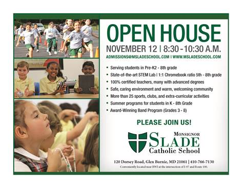 Monsignor Slade Catholic School Fall Open House