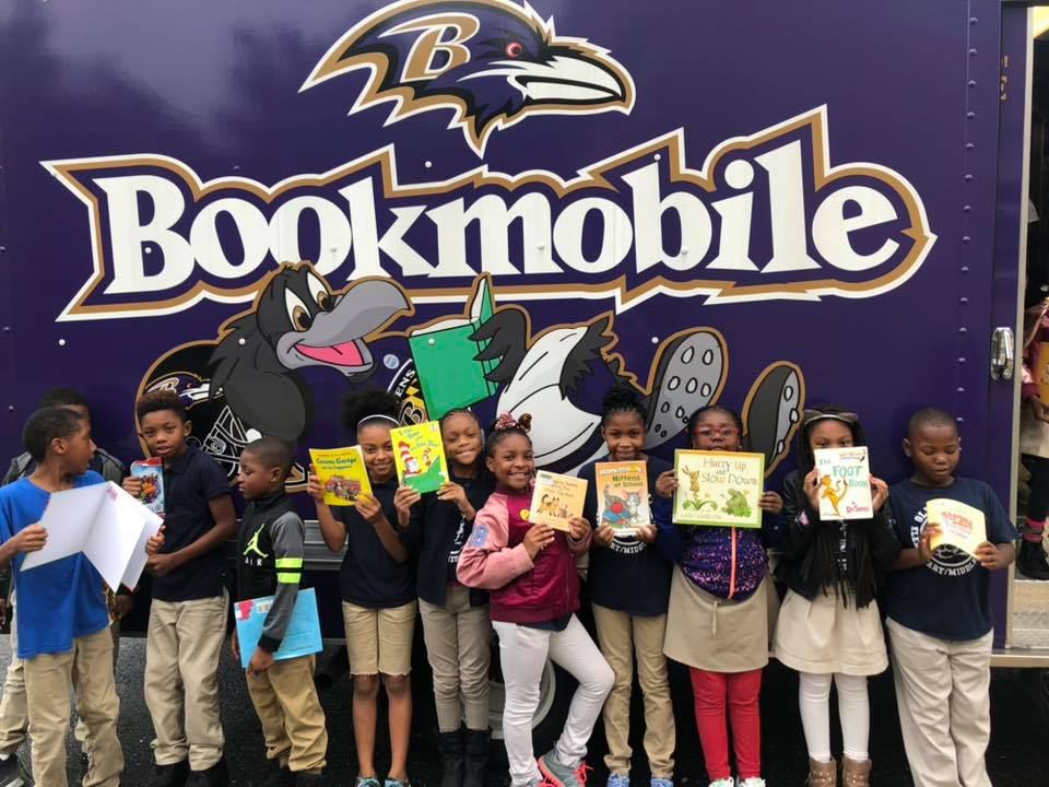 The Ravens Bookmobile, delivering books to students in Maryland schools from The Maryland Book Bank.